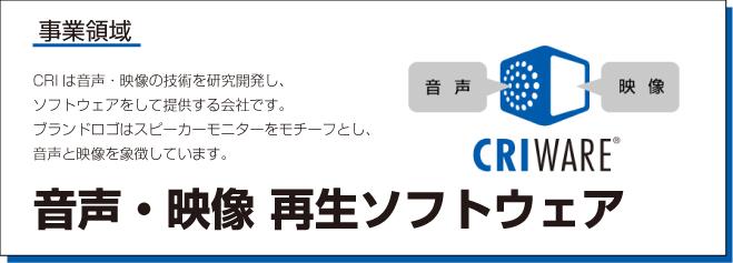CRIは音声・映像の技術を研究開発し、ソフトウェアとして提供する会社です。